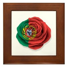 Portuguese Rose Flag on White Framed Tile