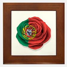 Portuguese Rose Flag on White Framed Tile