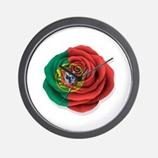 Portuguese Rose Flag on White Wall Clock