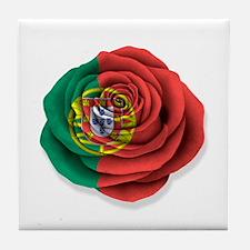 Portuguese Rose Flag on White Tile Coaster