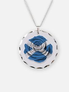 Scottish Rose Flag on White Necklace