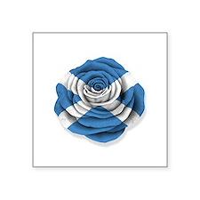Scottish Rose Flag on White Sticker