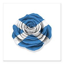 """Scottish Rose Flag on White Square Car Magnet 3"""" x"""