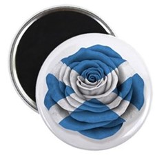 Scottish Rose Flag on White Magnets