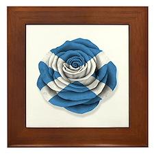 Scottish Rose Flag on White Framed Tile