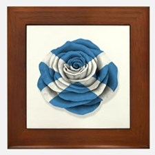 Scottish Rose Flag on White Framed Tile