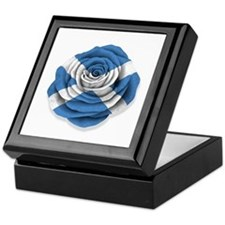 Scottish Rose Flag on White Keepsake Box