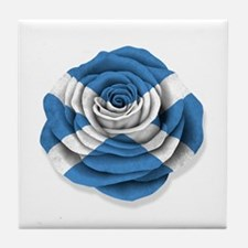 Scottish Rose Flag on White Tile Coaster