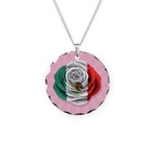 Mexican Rose Flag on Pink Necklace