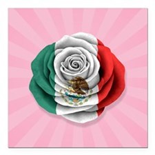 """Mexican Rose Flag on Pink Square Car Magnet 3"""" x 3"""