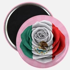 Mexican Rose Flag on Pink Magnets