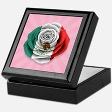 Mexican Rose Flag on Pink Keepsake Box