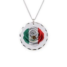 Mexican Rose Flag on White Necklace