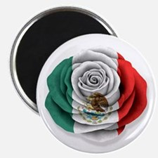 Mexican Rose Flag on White Magnets