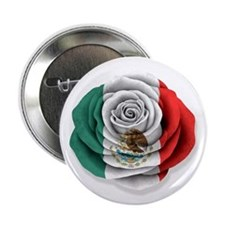 """Mexican Rose Flag on White 2.25"""" Button"""