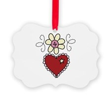 Heart And Flower Ornament