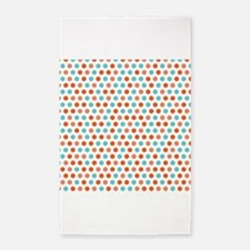 Teal Blue, Coral Orange White Polka Dots 3'x5' Are