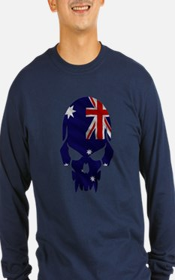 Australian Flag Skull Lon T