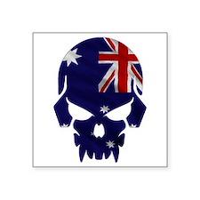 """Australia Flag Skull Square Square Sticker 3"""" X 3"""""""