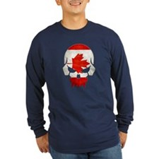 Canadian Flag Skull Long T