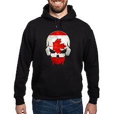 Canadian Flag Skull Hoodie (Dark) Hoodie (Dark)