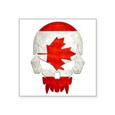 "Canadian Flag Skull Square Square Sticker 3"" X 3"""