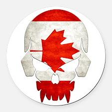 Canadian Flag Skull Round Car Magnet