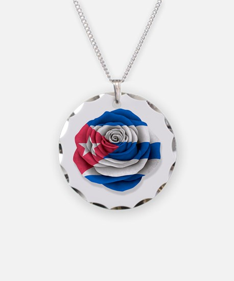 Cuban Rose Flag on White Necklace
