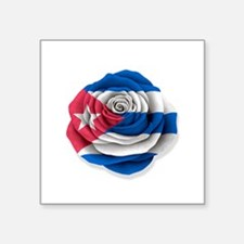 Cuban Rose Flag on White Sticker