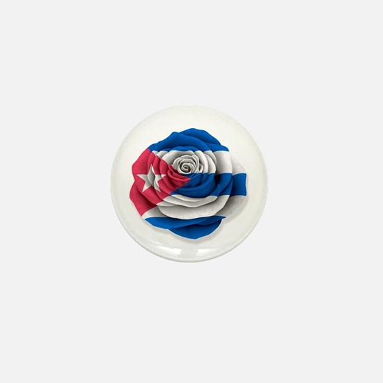 Cuban Rose Flag on White Mini Button