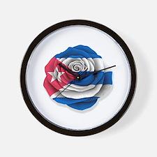 Cuban Rose Flag on White Wall Clock