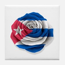 Cuban Rose Flag on White Tile Coaster