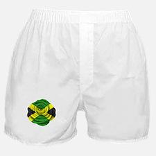 Jamaican Rose Flag on Pink Boxer Shorts