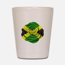 Jamaican Rose Flag on Pink Shot Glass