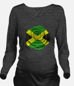 Jamaican Rose Flag on Pink Long Sleeve Maternity T