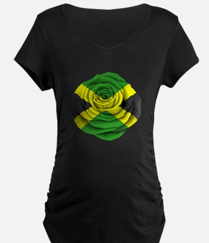 Jamaican Rose Flag on Pink Maternity T-Shirt