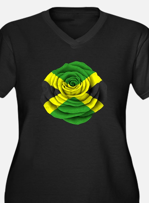 Jamaican Rose Flag on Pink Plus Size T-Shirt