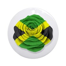 Jamaican Rose Flag on White Ornament (Round)
