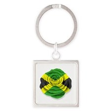 Jamaican Rose Flag on White Keychains