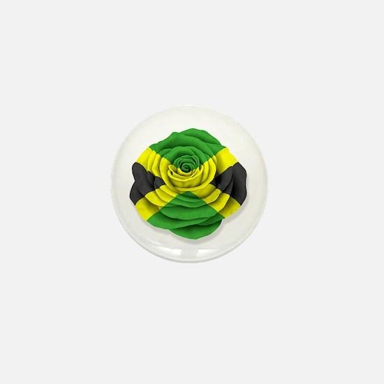 Jamaican Rose Flag on White Mini Button