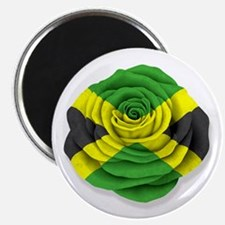 Jamaican Rose Flag on White Magnets