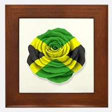 Jamaican Rose Flag on White Framed Tile