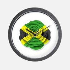 Jamaican Rose Flag on White Wall Clock