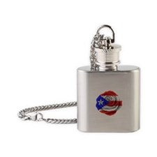 Puerto Rican Rose Flag Flask Necklace