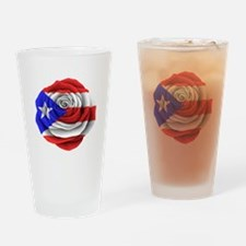 Puerto Rican Rose Flag Drinking Glass