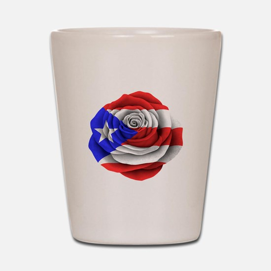 Puerto Rican Rose Flag Shot Glass