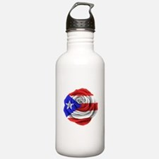 Puerto Rican Rose Flag Water Bottle