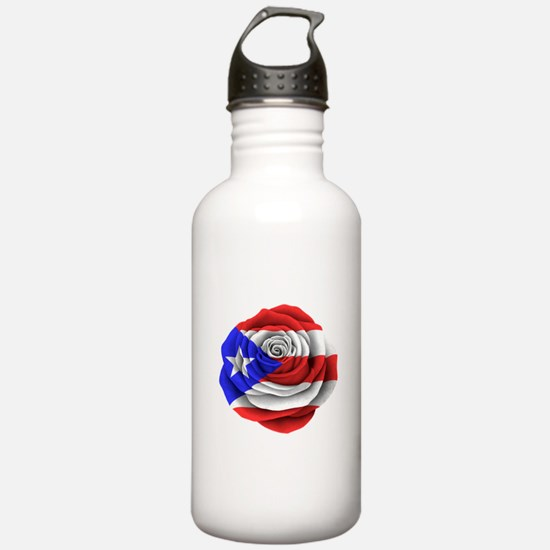 Puerto Rican Rose Flag Water Bottle