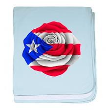 Puerto Rican Rose Flag baby blanket