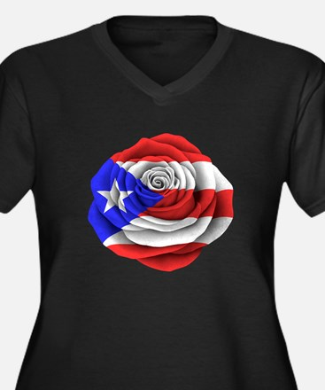 Puerto Rican Rose Flag Plus Size T-Shirt